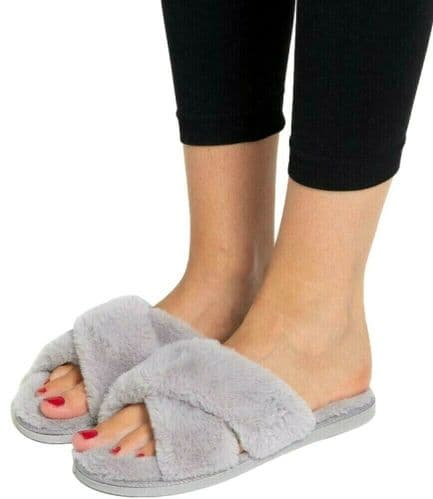Ladies Slippers Grey Faux Fur Size 5 - 6 Cosy Soft Cross Over Fluffy Slippers